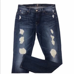 7 For All Mankind Ankle Skinny Fit Destroyed Jean